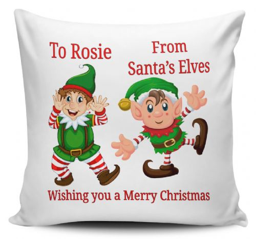 Personalised From Santa's Elves Wishing You A Merry Christmas Gift Cushion Cover